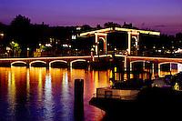 Skinny Bridge Magere Brugge at twilight Amsterdam Holland.