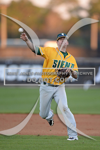 Siena Saints infielder Brett Connors (2) during warmups before the season opening game against the Central Florida Knights at Jay Bergman Field on February 14, 2014 in Orlando, Florida.  UCF defeated Siena 8-1.  (Copyright Mike Janes Photography)