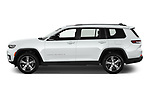Car Driver side profile view of a 2021 JEEP Grand-Cherokee-L Limited 5 Door SUV Side View