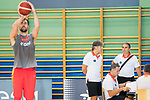 Player Pablo Aguilar practice three points shoot while coach Sergio Scariolo work with his assistants during the training of Spanish National Team of Basketball 2019 . July 26, 2019. (ALTERPHOTOS/Francis González)