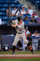 Aberdeen Ironbirds Maverick Handley (48) at bat during a NY-Penn League game against the Staten Island Yankees on August 22, 2019 at Richmond County Bank Ballpark in Staten Island, New York.  Aberdeen defeated Staten Island 4-1 in a rain shortened game.  (Mike Janes/Four Seam Images)