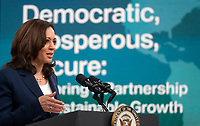 Vice President Kamala Harris delivers remarks during the 51st Annual Washington Conference on the Americas in the South Court Auditorium on Tuesday, May 4, 2021 in Washington, D.C. The conference features remarks by senior U.S. government officials and leaders, offering an early opportunity for participants to hear directly from the new Biden administration on its hemispheric policy agenda.   <br /> Credit: Leigh Vogel / Pool via CNP /MediaPunch