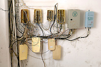 A messy telephone wiring in Shenzhen, China. China is becoming the world's largest telelcomunicaton market..