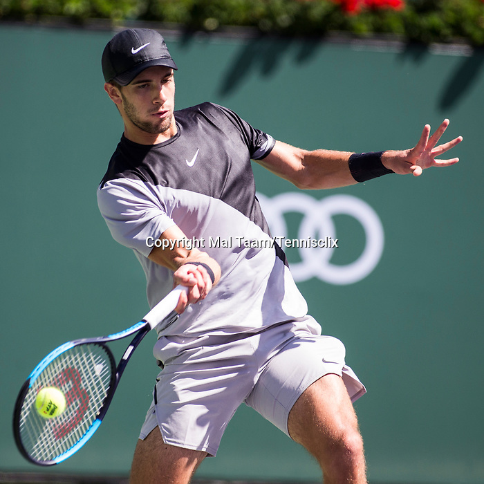 March 17, 2018: Borna Coric (CRO) defeated by Roger Federer (SUI) 5-7, 6-4, 6-4 in Wells Tennis Garden in Indian Wells, California. ©Mal Taam/TennisClix/CSM