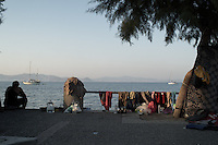 Clothes hanging to dry on the promenade of Kos, Greece. Sept. 05, 2015