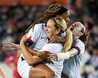HOUSTON, TX - JANUARY 31: Jessica McDonald #14, Lindsey Horan and Rose Lavelle #16 of the USA celebrate a goal during a game between Panama and USWNT at BBVA Stadium on January 31, 2020 in Houston, Texas.