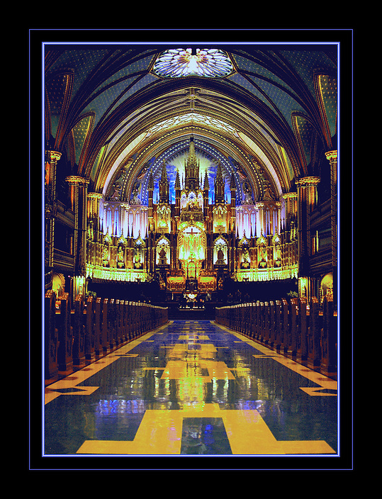 Playing with the color curve resulted in this image from inside a Montreal Canada cathedral.