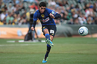 Raul Jimenez kicks the ball. Manchester City defeated Club America 2-0 in the Herbalife World Football Challenge 2011 at AT&T Park in San Francisco, California on July 16th, 2011.