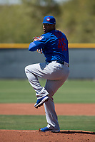 Chicago Cubs starting pitcher Pedro Strop (46) during a Minor League Spring Training game against the Oakland Athletics at Sloan Park on March 19, 2018 in Mesa, Arizona. (Zachary Lucy/Four Seam Images)