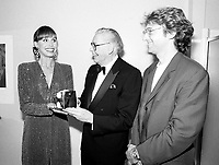 Montreal (qc) CANADA - file Photo - 1991 - <br /> <br /> <br />  - Milton Berle honored at Montreal 1991 Just For Laugh Festival,<br /> backstage photo with Gilbert Rozon, JFL President (R) and Mary Tyler Moore (L)