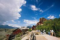 Tourists explore the historic kennicottt copper mine, Wrangell St. Elias National Park, Alaska.