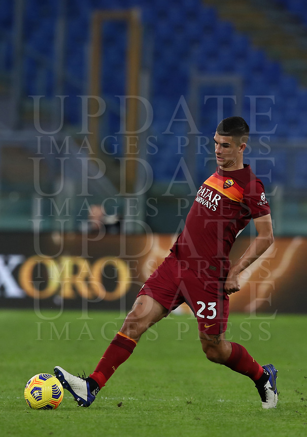 Football, Serie A: AS Roma - Parma, Olympic stadium, Rome, November 22, 2020. <br /> Roma's Gianluca Mancini in action during the Italian Serie A football match between Roma and Parma at Rome's Olympic stadium, on November 22, 2020. <br /> UPDATE IMAGES PRESS/Isabella Bonotto