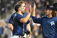 Pinch runner Desmond Lindsay (2) of the Columbia Fireflies is congratulated by Jay Jabs after scoring a walk-off winning run in a game against the West Virginia Power on Thursday, May 18, 2017, at Spirit Communications Park in Columbia, South Carolina. Columbia won in 10 innings, 3-2. (Tom Priddy/Four Seam Images)