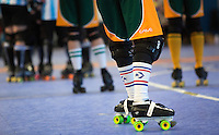 16 MAR 2014 - BIRMINGHAM, GBR - Skaters wait for the start of a jam during the bout between the Wizards of Aus and Argentina at the inaugural Men's Roller Derby World Cup in the Futsal Arena in Birmingham, West Midlands, Great Britain (PHOTO COPYRIGHT © 2014 NIGEL FARROW, ALL RIGHTS RESERVED)