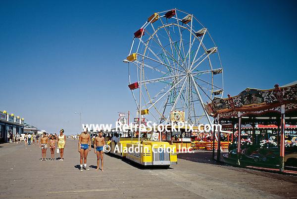 Wildwood, NJ Boardwalk Tram Cars & Ferris Wheel.