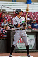 Clinton LumberKings outfielder Braden Bishop (9) waits on deck during a Midwest League game against the Wisconsin Timber Rattlers on May 9th, 2016 at Fox Cities Stadium in Appleton, Wisconsin.  Clinton defeated Wisconsin 6-3. (Brad Krause/Four Seam Images)