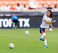 HOUSTON, TX - JUNE 10: Alex Morgan #13 of the United States warms up before a game between Portugal and USWNT at BBVA Stadium on June 10, 2021 in Houston, Texas.