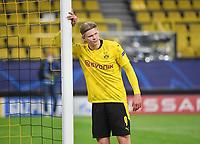 14th April 2021; Induna Park, Dortmund, Germany; UEFA Champions League Football quarter-final, Borussia Dortmund versus Manchester City; Erling Haaland Borussia Dortmund disappointed to lose the game
