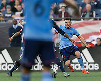 Foxborough, Massachusetts - October 15, 2017: First half action. In a Major League Soccer (MLS) match, New England Revolution (blue/white) vs New York City FC (light blue/blue), at Gillette Stadium.<br /> Red Card: Jack Harrison.