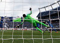 DENVER, CO - JUNE 19: Loic Chauvet #1 makes a save during a game between Martinique and Cuba at Broncos Stadium on June 19, 2019 in Denver, Colorado.