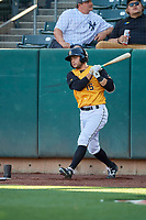 David Fletcher (15) of the Salt Lake Bees on deck against the New Orleans Baby Cakes at Smith's Ballpark on June 11, 2018 in Salt Lake City, Utah. New Orleans defeated Salt Lake 6-5.  (Stephen Smith/Four Seam Images)