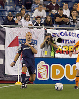 New England Revolution forward Ilica Stojica (9) passes the ball. The New England Revolution defeated Houston Dynamo, 1-0, at Gillette Stadium on August 14, 2010.