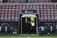 5th September 2020; PTS Academy Stadium, Northampton, East Midlands, England; English Football League Cup, Carabao Cup, Northampton Town versus Cardiff City; A security guard wearing a mask stands by the tunnel