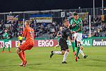12.09.2020, Ernst-Abbe-Sportfeld, Jena, GER, DFB-Pokal, 1. Runde, FC Carl Zeiss Jena vs SV Werder Bremen<br /> <br /> <br /> Lukas Sedlak (Carl Zeiss Jena #12)<br /> Dennis Slamar (Carl Zeiss Jena #04)<br /> Davie Selke  (SV Werder Bremen #09)<br /> <br />  <br /> <br /> <br /> Foto © nordphoto / Kokenge