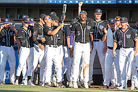 University of Washington Huskies celebrate the home run hit by Nick Kahle (16) against the Cal State Fullerton Titans at Goodwin Field on June 10, 2018 in Fullerton, California. The Huskies defeated the Titans 6-5. (Donn Parris/Four Seam Images)