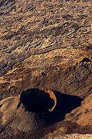 France, île de la Réunion, Parc national de La Réunion, classé Patrimoine Mondial de l'UNESCO, Les Hautes Plaines, le Piton de la Fournaise, cratères et évents dans l'enclos Fouqué (vue aérienne)  //  France, Reunion island (French overseas department), Parc National de La Reunion (Reunion National Park), listed as World Heritage by UNESCO, Sainte Rose, Bellecombe,  listed as World Heritage by UNESCO, High Lands, Piton de la Fournaise, chemneys and craters in the Fouque enclosure (aerial view)