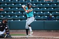 Jonathan Ornelas (3) of the Llamas de Hickory at bat against the Winston-Salem Rayados at Truist Stadium on July 6, 2021 in Winston-Salem, North Carolina. (Brian Westerholt/Four Seam Images)