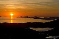 Earth Day 2011.Sunrise overlooking the British Virgin Islands from .St. John in the U.S. Virgin Islands