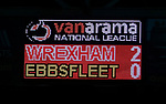 Wrexham 2 Ebbsfleet United 0, 18/11/2017. The Racecourse Ground, National League. The scoreboard shows the final score. Photo by Paul Thompson.