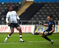 19th December 2020; Liberty Stadium, Swansea, Glamorgan, Wales; English Football League Championship Football, Swansea City versus Barnsley; Jamal Lowe of Swansea City shoots passed Jordan Williams of Barnsley to score his sides first goal making it 1-0 in the 2nd minute