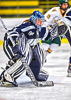 2 February 2013: University of New Hampshire Wildcat goaltender Marie-Eve Jean, a Freshman from Gatineau, Quebec, in 2nd period action against the University of Vermont Catamounts at Gutterson Fieldhouse in Burlington, Vermont. The Lady Wildcats defeated the Lady Catamounts 4-2 in Hockey East play. Mandatory Credit: Ed Wolfstein Photo