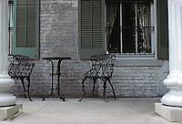 St. Louis: Chatillon-De Menil House, rear porch. Photo '78.
