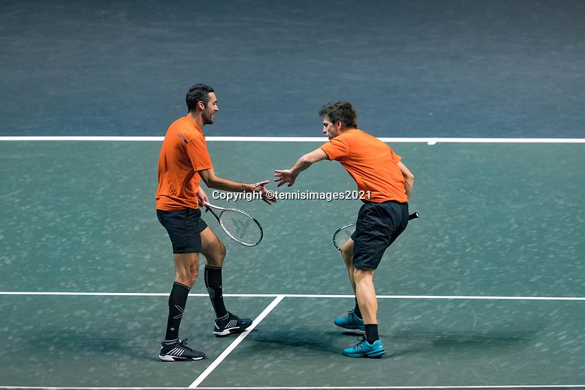 Rotterdam, The Netherlands, 28 Februari 2021, ABNAMRO World Tennis Tournament, Ahoy, First round doubles: Sander Arends (NED) / David Pel (NED)<br /> Photo: www.tennisimages.com/henkkoster
