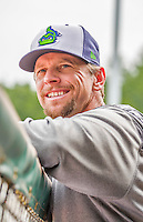 9 July 2015: Vermont Lake Monsters Manager Aaron Nieckula looks out from the dugout prior to a game against the Mahoning Valley Scrappers at Centennial Field in Burlington, Vermont. The Lake Monsters rallied to tie the game 4-4 in the bottom of the 9th, but fell to the Scrappers 8-4 in 12 innings of NY Penn League play. Mandatory Credit: Ed Wolfstein Photo *** RAW Image File Available ****
