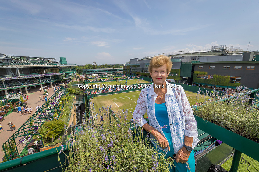London, England, 6 th July, 2017, Tennis,  Wimbledon, Betty Stove (NED) 40 years ago in 1977 she was in tree finals at Wimbledon, singel, double and mixed<br /> Photo: Henk Koster/tennisimages.com