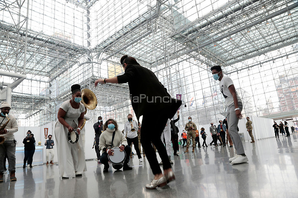 NEW YORK, NY- FEBRUARY 20: Recording Artist Jon Batiste performs at the inaugural celebrtion of NY PopsUp, which is intended to support the Performing Arts Industry in New York State held at the Javits Center on February 20, 2021 in New York City. Credit: mpi43/MediaPunch