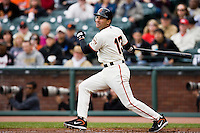 19 April 2007: Giants' Omar Vizquel is seen at bat during the San Francisco Giants 6-2 victory over the St. Louis Cardinals at the AT&T stadium in San Francisco, CA.