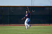 AZL Indians Red left fielder Cesar Idrogo (17) prepares to catch a fly ball during an Arizona League game against the AZL Padres 1 on June 23, 2019 at the Cleveland Indians Training Complex in Goodyear, Arizona. AZL Indians Red defeated the AZL Padres 1 3-2. (Zachary Lucy/Four Seam Images)