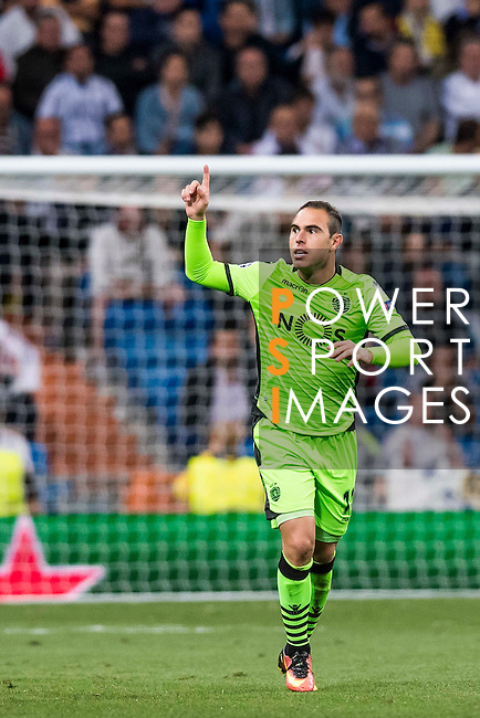 Bruno Cesar of Sporting Portugal celebrates during their 2016-17 UEFA Champions League match between Real Madrid vs Sporting Portugal at the Santiago Bernabeu Stadium on 14 September 2016 in Madrid, Spain. Photo by Diego Gonzalez Souto / Power Sport Images