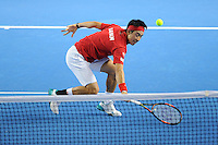 Kei Nishikori (JAP), MARCH 06, 2016 - Tennis : Kei Nishikori (JAP) in action during the Davis Cup by PNB Paribas , World Group first round fourth rubber between Great Britain and Japan at The Barclaycard Arena, Birmingham, United Kingdom. (Photo by Rob Munro/AFLO)
