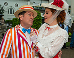 """LOUISVILLE, KY - MAY 05: A couple dresses up as """"Mary Poppins"""" characters on Kentucky Derby Day at Churchill Downs on May 5, 2018 in Louisville, Kentucky. (Photo by Scott Serio/Eclipse Sportswire/Getty Images)"""
