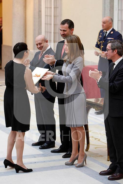 Blanca Portillo, Prince Felipe of Spain and Princess Letizia of Spain attend the National Awards of Culture 2011 and 2012 at Palacio de El Pardo. February 19, 2013. (ALTERPHOTOS/Caro Marin)