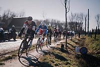 Greg Van Avermaet (BEL/BMC) with Arnaud Démare (FRA/FDJ) directly in his wheel avoiding the Varent cobbles<br /> <br /> 70th Kuurne-Brussel-Kuurne 2018<br /> Kuurne › Kuurne: 200km (BELGIUM)