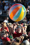 The crowd plays with beach balls while waiting for the Beach Boys to perform at the Harveys Lake Tahoe Outdoor Arena in Stateline, Nev., on Sunday night, July 15, 2012. The event was the final show in the United States on their 50th anniversary tour..Photo by Cathleen Allison