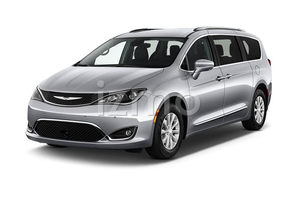 2018 Chrysler Pacifica Touring-L Plus 5 Door Mini Van angular front stock photos of front three quarter view