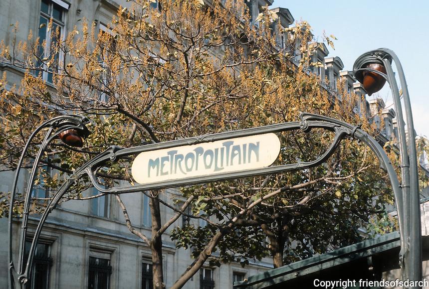 Hector Guimard: Cite Metro Entrance, Paris.